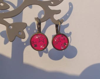 Earrings sleepers bronze with cabochon glass silver stars on a Fuchsia background.