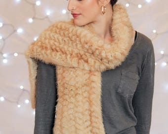 Mink Scarf, Fur Scarf, Knitted Mink Scarf, Real Fur Scarf, Fur Accessories, Fur Gifts