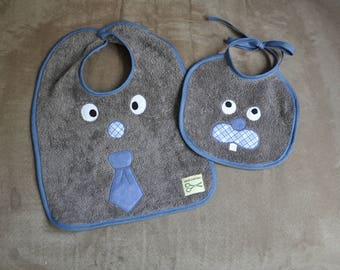 Set of two bibs baby grey Bunny tie