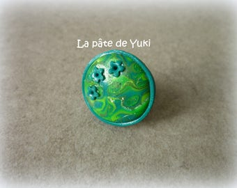 ADJUSTABLE round green handmade polymer clay ring