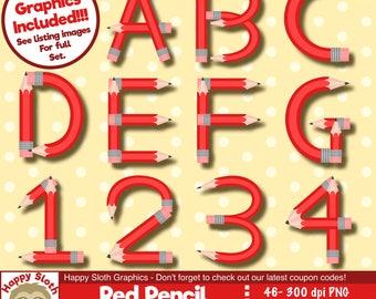 Red Pencil Alphabet clipart set, personal and commercial use vector, School Font digital clip art set.