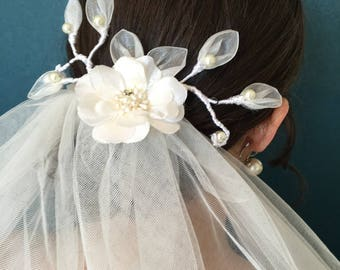 leaves of organza and silk flower bridal hair comb