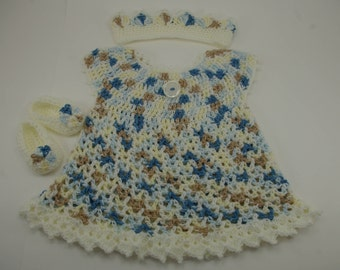 Baby Dress, Blue Baby Dress, Little Sweetie Dress Blue and White, Baby Outfit, Baby Headband, Baby Slippers