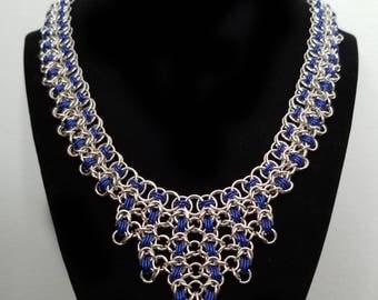 Silver and Blue Helm/Byzantine Ornate Necklace
