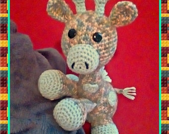 Crocheted Amigurumi Giraffe Stuffed Toy