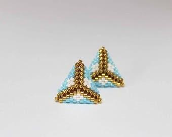 Tiny Stud Earrings, Modern Minimalist Earrings, Gold Earrings, Triangle Earrings, Geometric Earrings