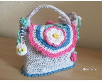 Bag Bohemian Fun and colorful Crochet Cotton gift women Teenager birthday party-perfect for the beautiful days Amigurumi OWL beads and flowers
