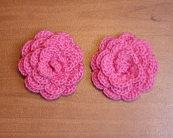 "set of 2 flowers fuchsia crocheted ""pink style"""