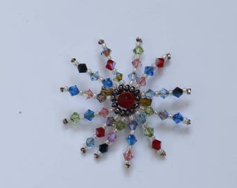"Brooch ""Red Sun"" multicoles Swarovski Crystal bicone beads and seed beads"