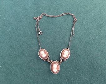 Antique pendant on .835 silver chain with 3 cameo charms
