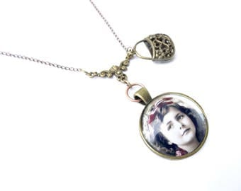 Vintage Medallion cabochon girl and retro charm necklace