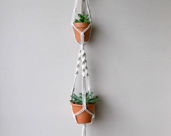 MAE --Double Pot Macrame Plant Hanger - sourced and crafted in the USA - modern vintage decor