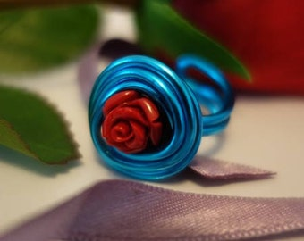 "Ring ""Phisalys KIKI"" Turquoise and red rose, adjustable, Collection ""LaPieM"" for a Bohemian look, hippie chic, boho, ethnic"