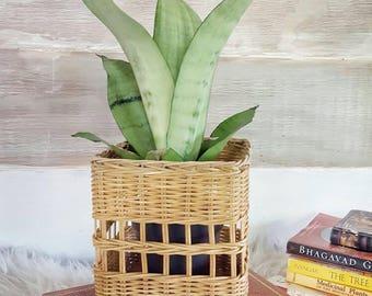 vintage wicker tissue box cover vintage wicker planter bathroom decor home decor