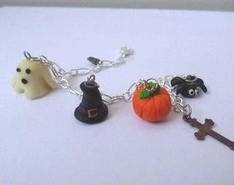 Halloween ghost pumpkin spider Fimo bracelet
