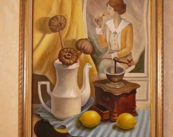 Nostalgia-oil painting on canvas, framed, vintage