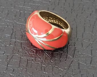 Golden Sunset - Gold/Orange Glazed Ring for Women
