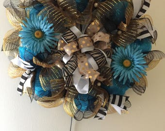 teal deco mesh wreath, deco mesh teal and gold,