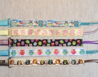 Pacifier Clip: Owls - Pink Yellow Mult-Colored   girls, ribbon, paci holder