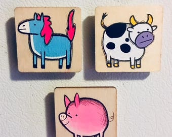 Horse Cow Pig Magnet Set