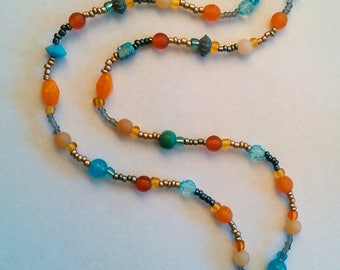Blue and Orange Pattern Necklace
