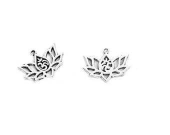 10 charm silver lotus flower, lotus flower pendant