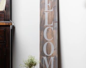 Welcome sign, 5ft tall, entryway, greeting, porch sign, front door sign, painted sign