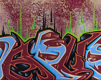 Red Grain Original Graffiti Canvas