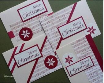 Merry Christmas cards set of 4, classic Christmas cards, classic holiday cards, snowflake cards, blank Christmas cards, Christmas carol card