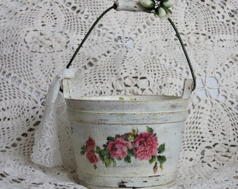 Shabby chic bucket Wooden shabby  bucket Shabby chic storage Wooden bucket Storage bucket Bridal shower basket Flower girl basket