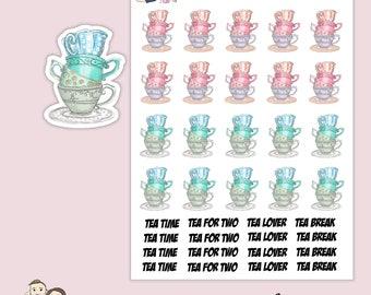 WATERCOLOUR TEA CUP Planner Stickers/ Happy planner/ Eclp/ Erin Condren life/ Mug/ scrapbooking/ Kikki K/ Filofax/ Foxy Fix S158