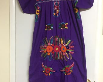 Vintage 70's Purple, Mexican dress.