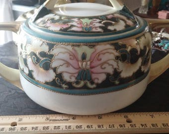 ca. 1900 Antique Nippon Moriage Gold Beaded Hand Painted Sugar Bowl/Lidded Bowl