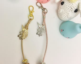 Monkey fist knot planner charm / purse charm / key ring with unicorn