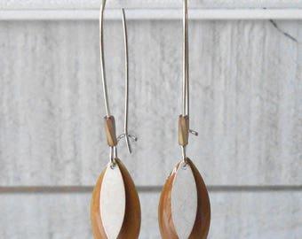 Silver Earring, caramel brown enamel sequin