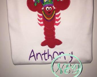 Children's Mardi Gras Crawfish Applique Shirt
