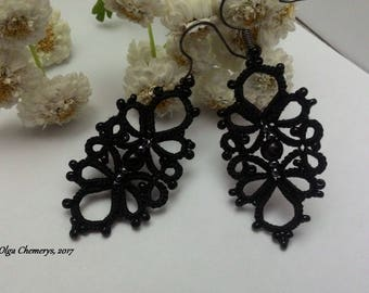 Black lace earrings, tatted jewerly, black earrings, tatting lace earrings, tatted earrings, long earrings