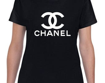 Chanel Black Fitted inspired T shirt top new!!
