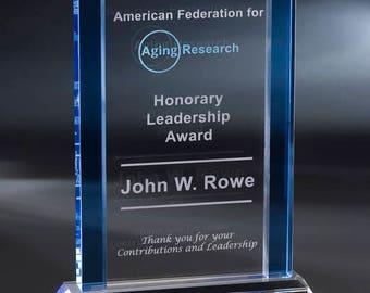 Crystal Carpenteria Engraved Recognition Award