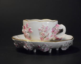 Rare Meissen Floral Encrusted Demitasse Cup and Saucer