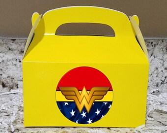 SALE! 12+ Labels Or Boxes & Labels 12 Wonder Woman Boxes, Wonder Woman Gable Boxes, Wonder Woman Candy Bags, Wonder Woman Candy Boxes LOGO