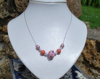 Necklace 'Pink and purple'. Lampwork Glass.