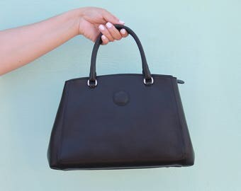 Leather hand bag black