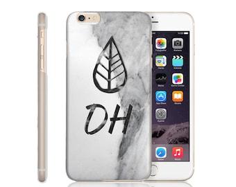 Personalised Grey Marble Leaf sketch Initials Phone Case iPhone 5/5S/SE 6 6S 6 Plus 7 7S 8  X Plus Samsung S6 S6 Edge S7 S8 Plus