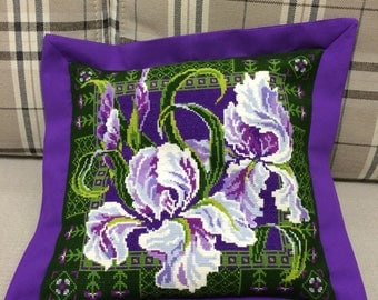 Cross-stitched pillow case