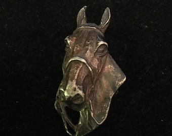 Vintage Horse Pin Facing Left Silver tone Antique Jewelry