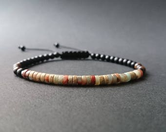 Mens natural stone bracelet Jasper printing, bronzite and matte black onyx