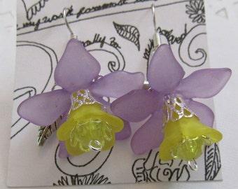 Purple and Yellow Flower Earrings