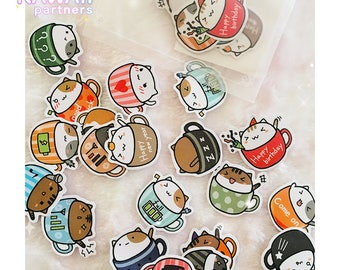 Kawaii Cat Stickers   Cute Stickers   Planner Stickers   Stationery   Japanese   20 pieces   KawaiiPartners