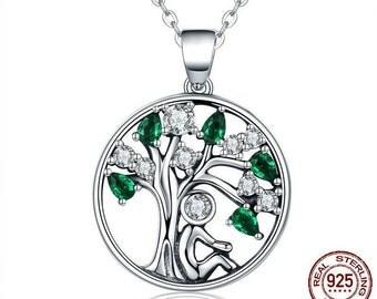Genuine Silver Tree Pendant with Zircon Tree of Life Necklace